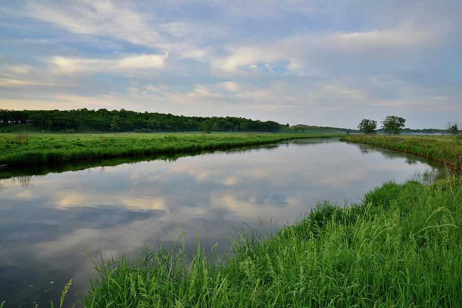 Morning Clouds Reflected In Nippersink Creek Photograph