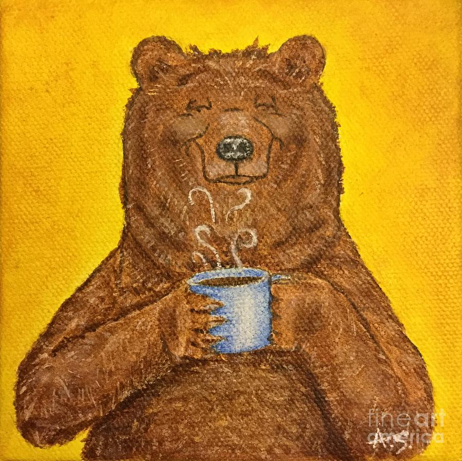Grizzly Painting - Morning Coffee by Amelia Schimetz