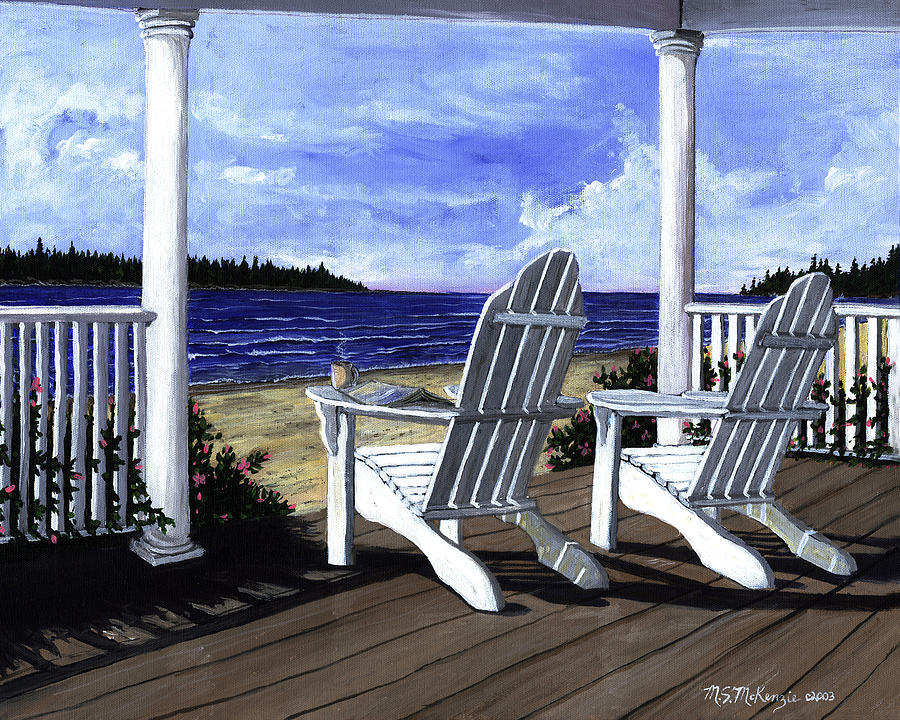 Beach Painting - Morning Coffee by M S McKenzie