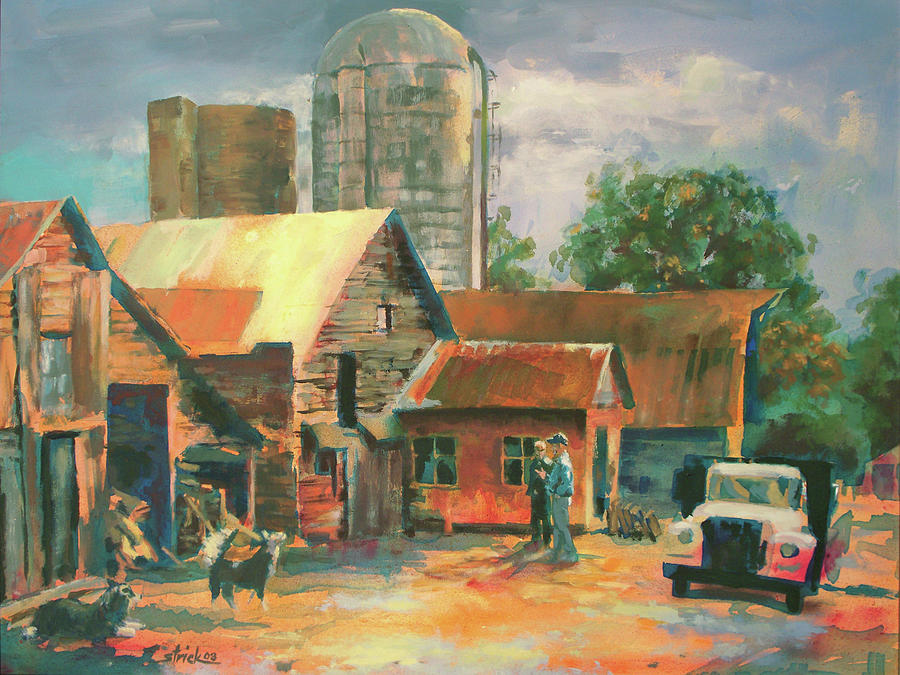 Farm Painting - Morning Conference by Carol Strickland