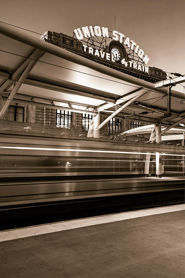 Morning Departure At Union Station In Denver Lodo District - Sepia Photograph