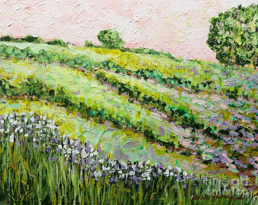 Flowers Painting - Morning Dew on the Irises by Allan P Friedlander