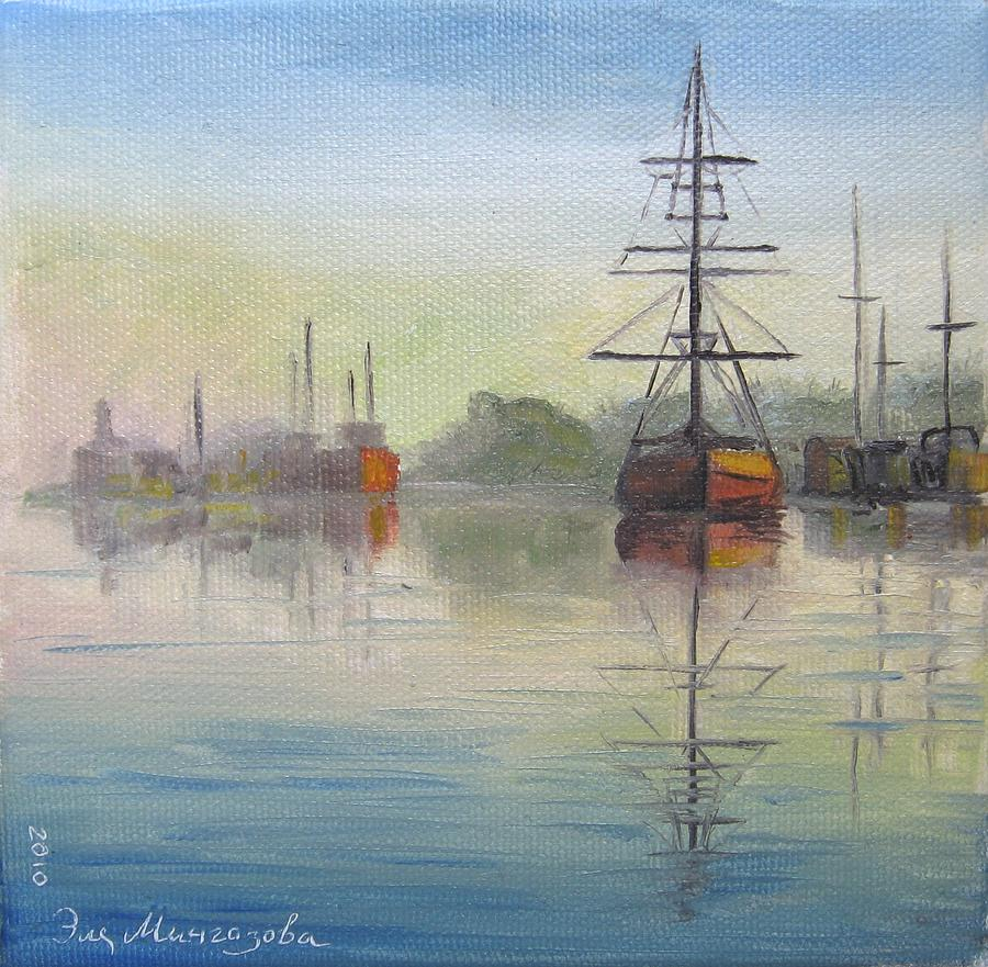 Boats Painting - Morning by Eleonora Mingazova