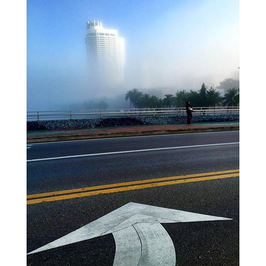 Direction Photograph - Morning Fog At Miami Beach by Juan Silva