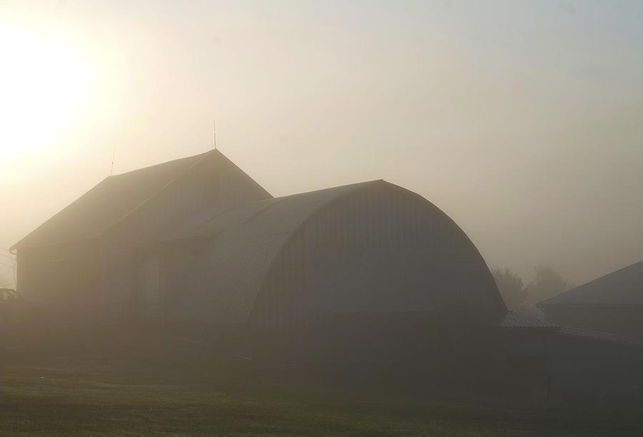 Barn Photograph - Morning Fog by Danielle Allard