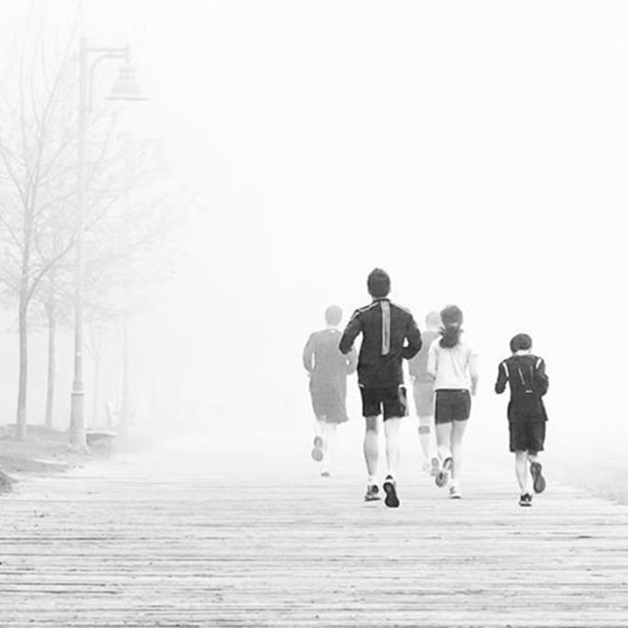 Blackandwhite Photograph - Morning Fog Jog.  #toronto #fog by Brian Carson