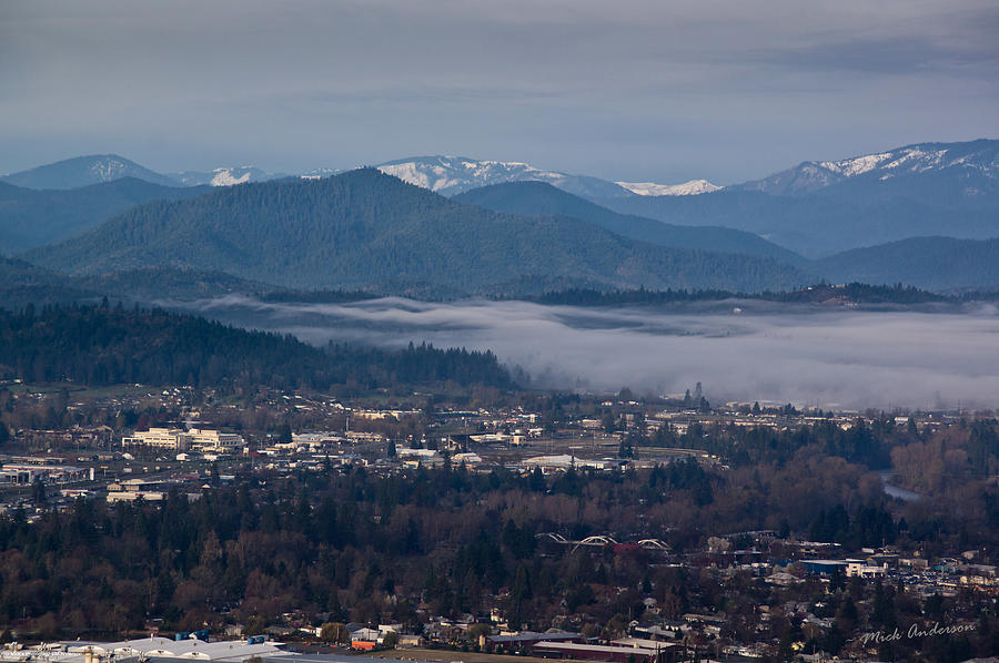 Oregon Photograph - Morning Fog Over Grants Pass by Mick Anderson