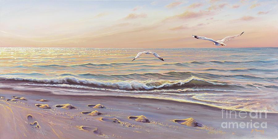 Seascape Painting - Morning Glisten by Joe Mandrick