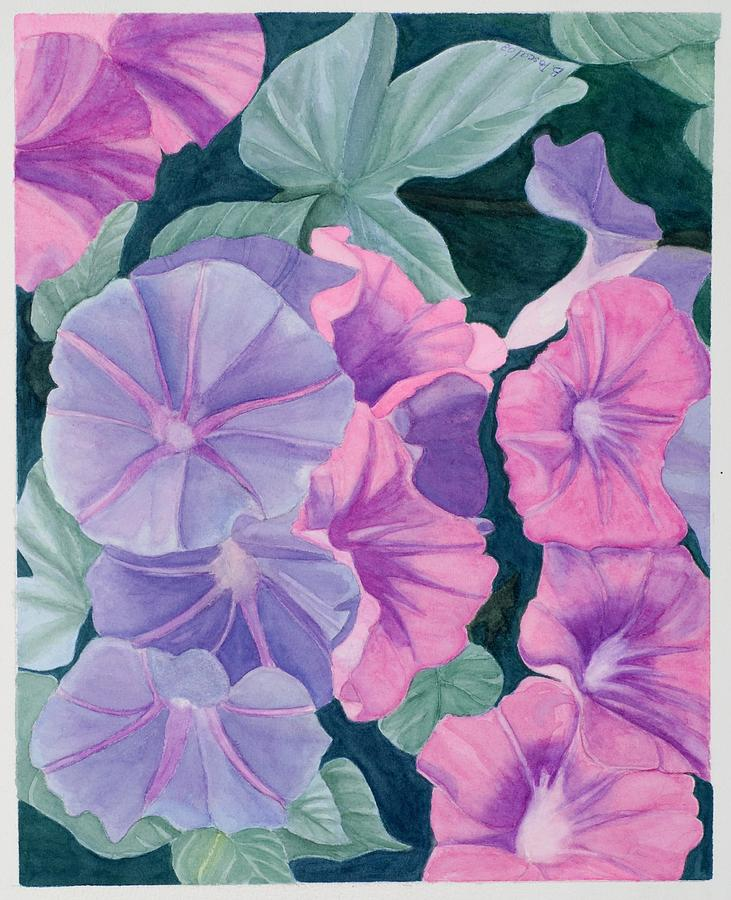 Flowers Painting - Morning Glories by Barbara Pascal