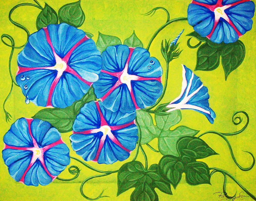 Abstract Painting - Morning Glory by Peggy Davis