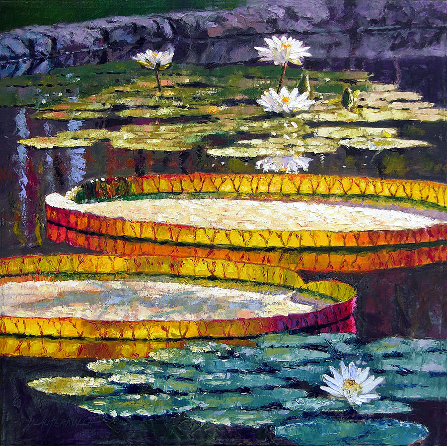 Water Lilies Painting - Morning Glow by John Lautermilch