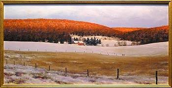 Snow Painting - Morning Glow Over Brush Valley by Karl Eric Leitzel
