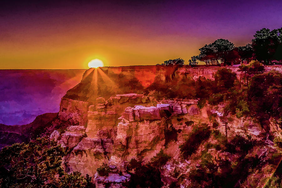 Grand Canyon Digital Art - Morning Has Broken 2-painterly by Lisa Lemmons-Powers