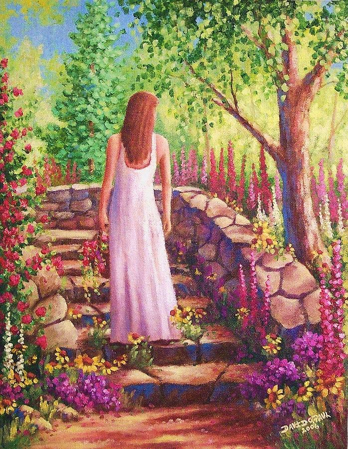 Woman Painting - Morning In Her Garden by David G Paul