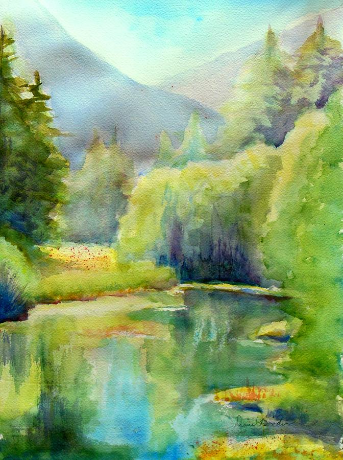 Pond Painting - Morning in Valle Escondido, a favorite pond in the mountains of Taos, NM by Diane Binder