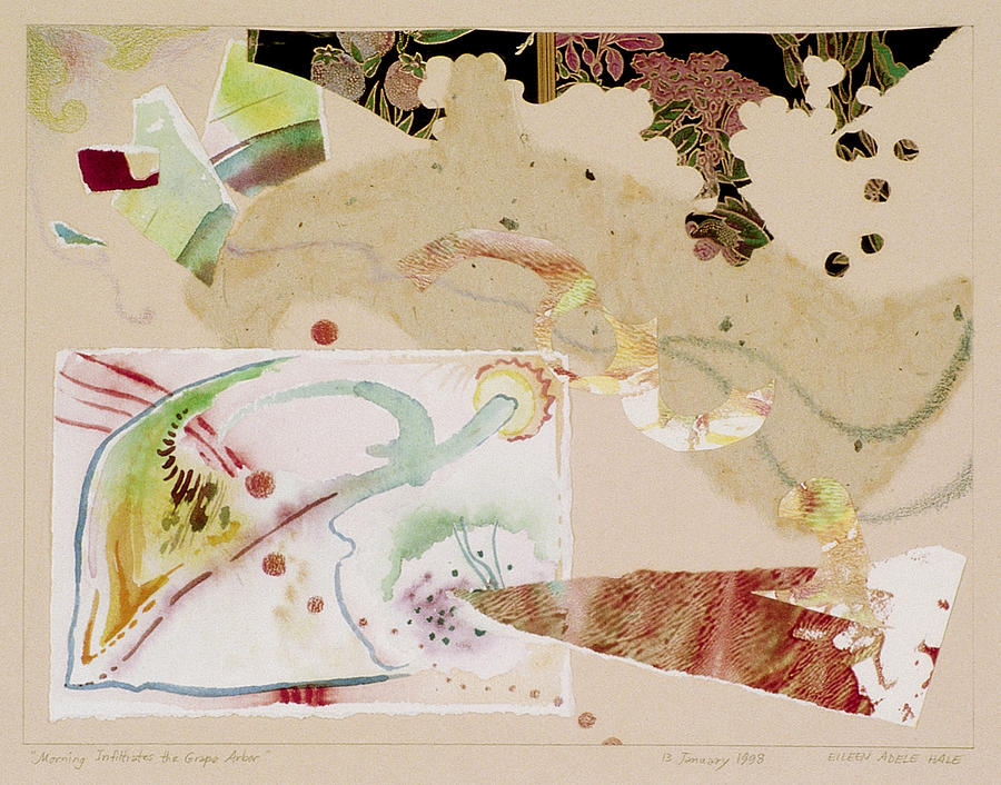 Collage Mixed Media - Morning Infiltrates the Grape Arbor by Eileen Hale