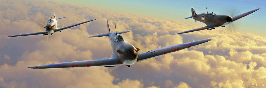 Spitfire Digital Art - Morning Intercept by Hangar B Productions