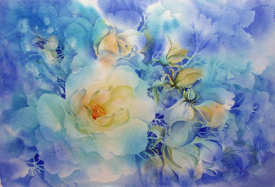 White Rose Painting - Morning-light by Nancy Newman