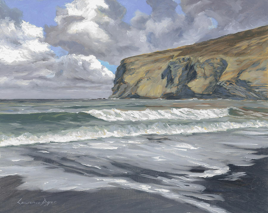 Crackington Haven Painting - Morning Light On Pencannow Point by Lawrence Dyer