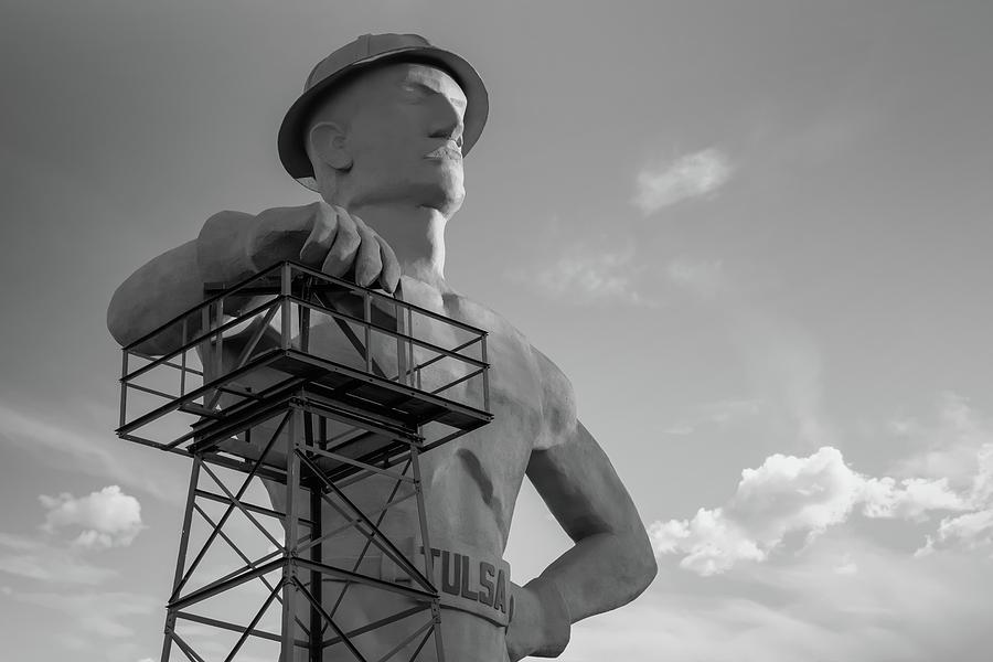 Morning Light On The Tulsa Oklahoma Driller - Black And White Photograph