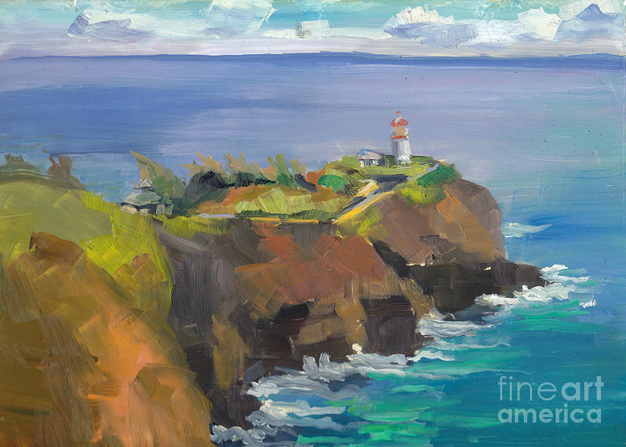 Morning Lighthouse Painting by Cynthia Riedel