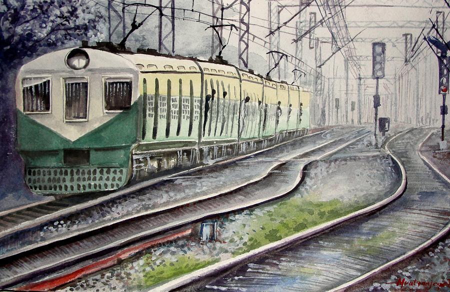 Painting Painting - Morning Local Train by Mrutyunjaya Dash