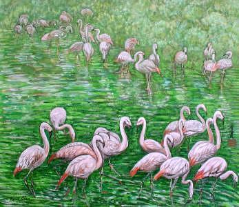 Orange Birds Painting - Morning Melody by Komi Chen