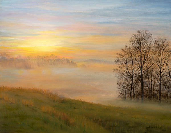 Landscape Painting - Morning Mist by Christa Eppinghaus