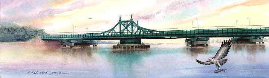 City Island Painting - Morning Mist City Island Bridge by Marguerite Chadwick-Juner