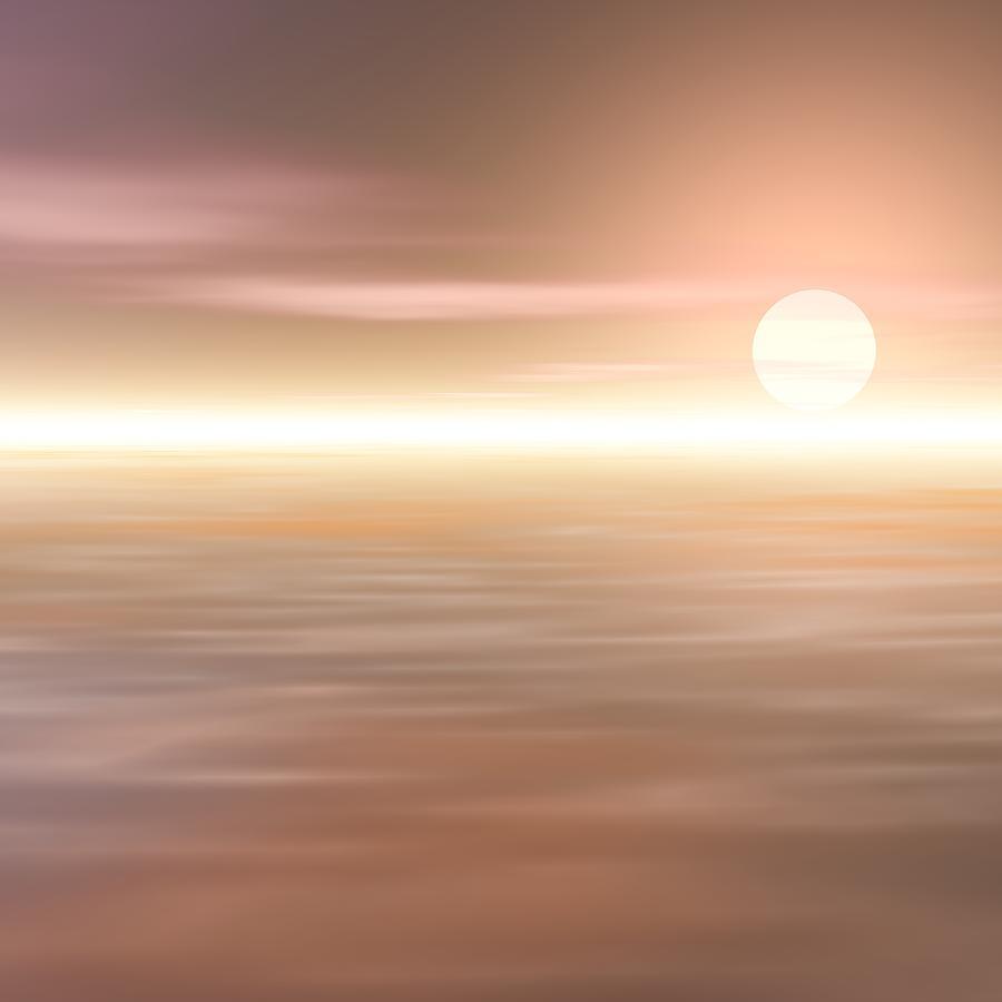 Sunrise Digital Art - Morning Mist Covered North Sea by Taketo Takahashi