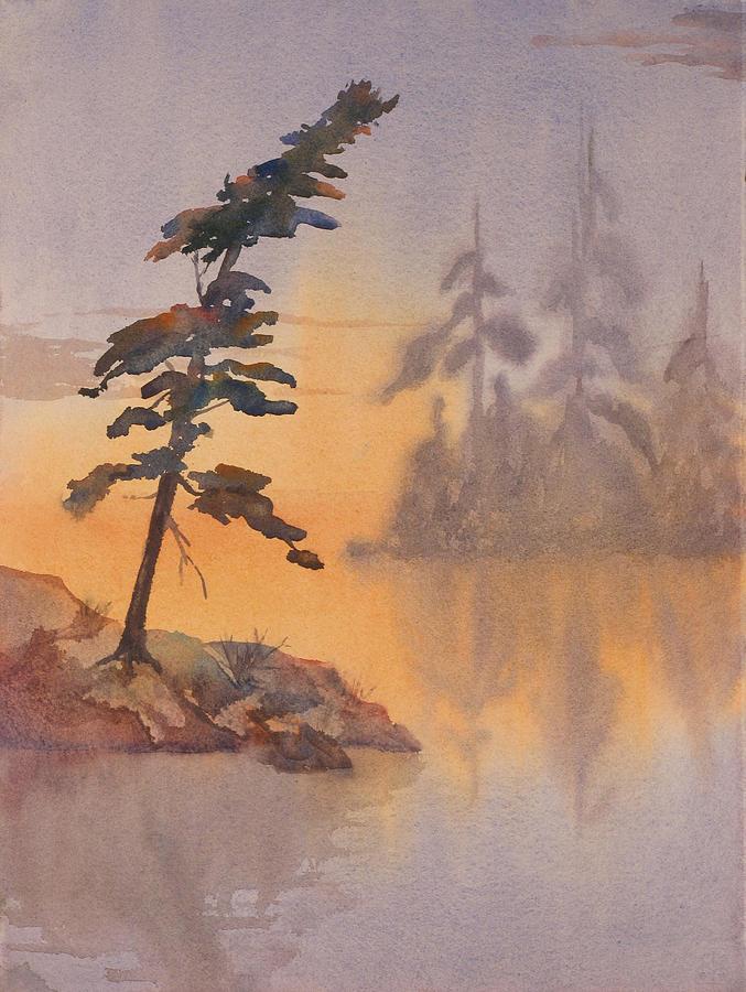 Lake Painting - Morning Mist by Debbie Homewood