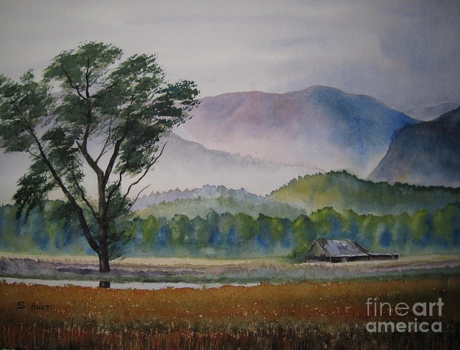Morning Mist Greeting Card Watercolor Landscape Artwork