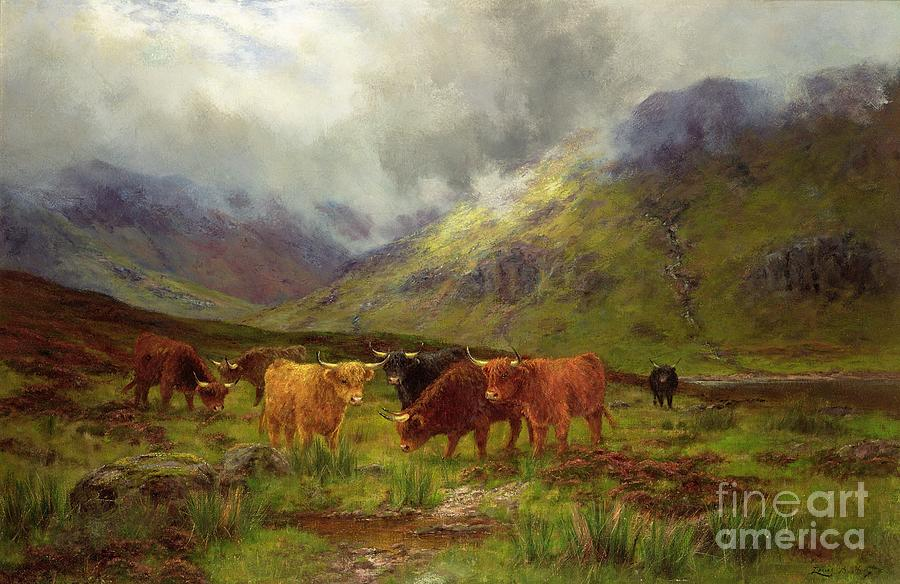 Landscape; Highlands; Scottish; Highland Cows; Mist; River; Aberdeen Angus; Glen; Valley; Horns Painting - Morning Mists by Louis Bosworth Hurt