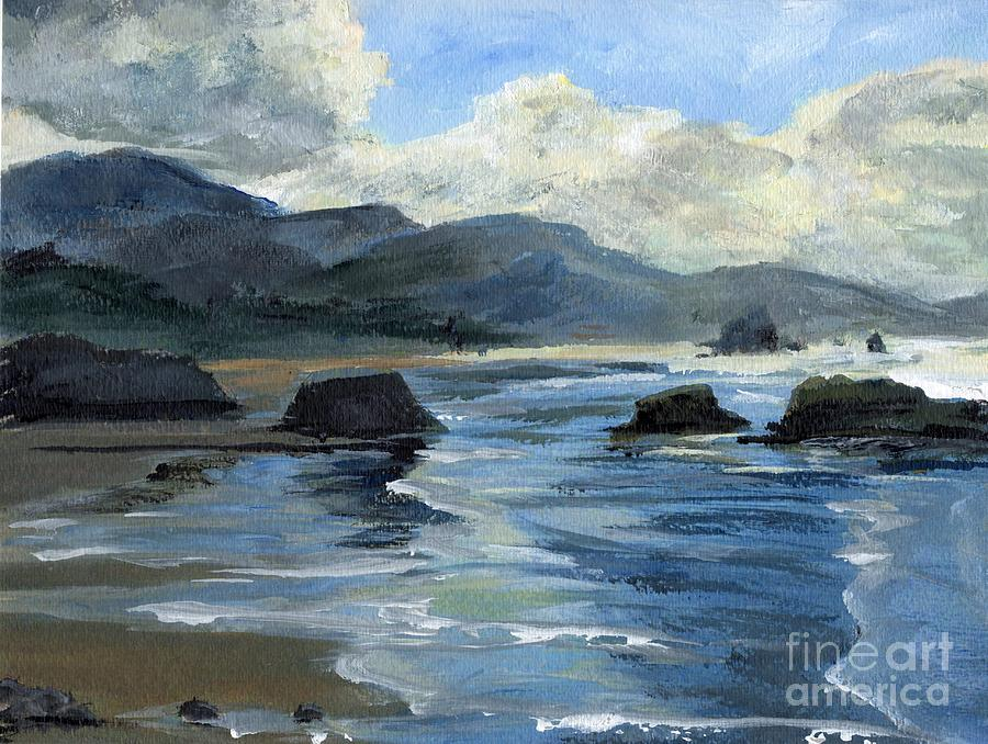 Oregon Painting - Morning Mists Oregon Coast by Randy Sprout