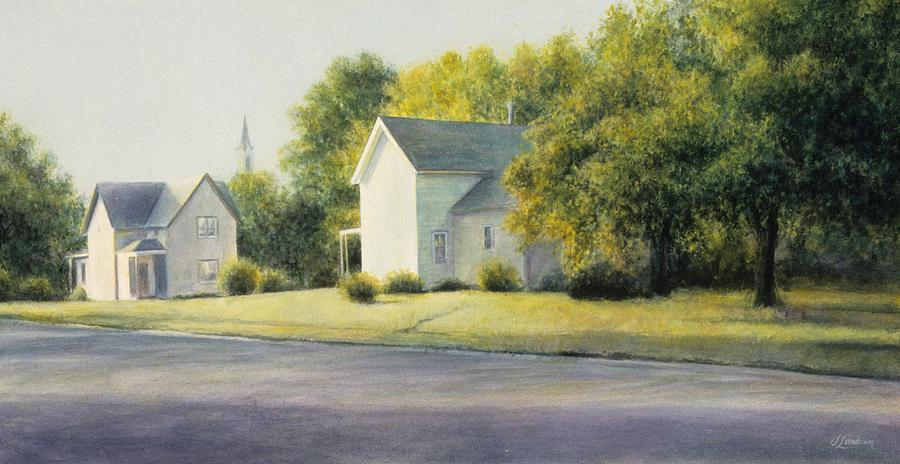 Town Painting - Morning on Milton Street by Janet Landrum