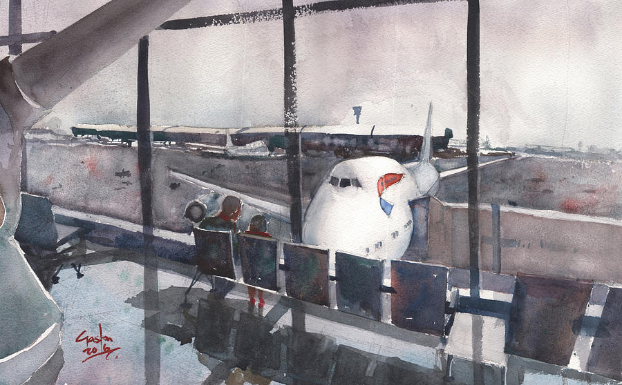Airport Painting - Morning Over Heathrow by Gaston McKenzie