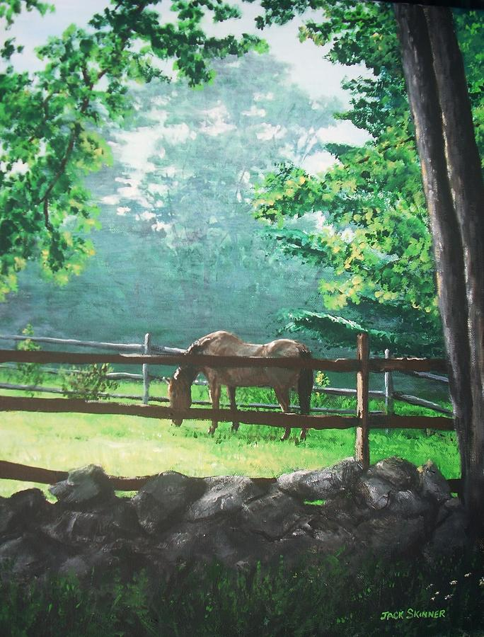 Horse Painting - Morning Pasture by Jack Skinner