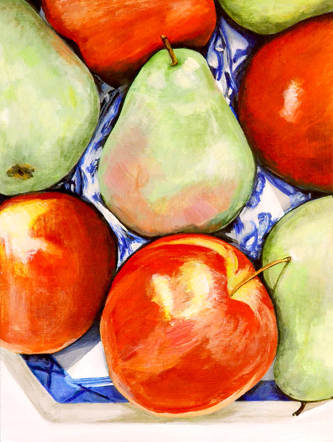 Apples Painting - Morning Pears And Apples by Mary Chant