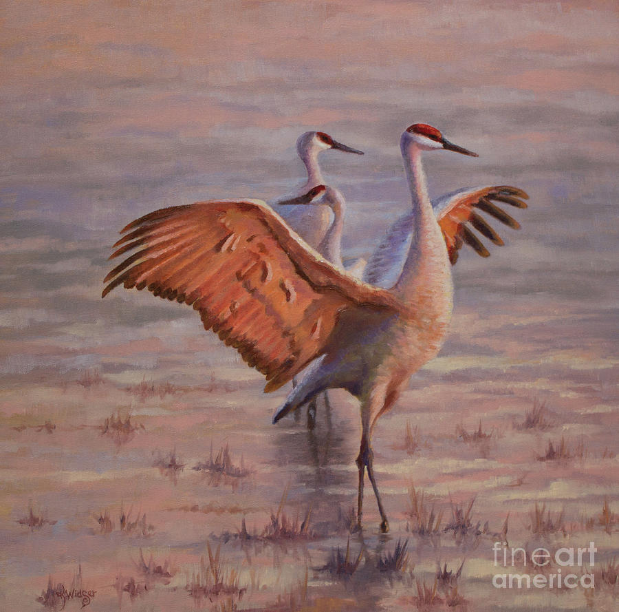 Sandhill Cranes Painting - Morning Praise by Katy Widger