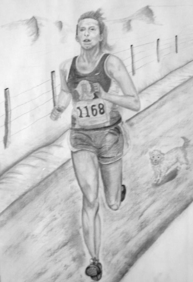 Charcoal Drawing Drawing - Morning Race by Russ  Smith