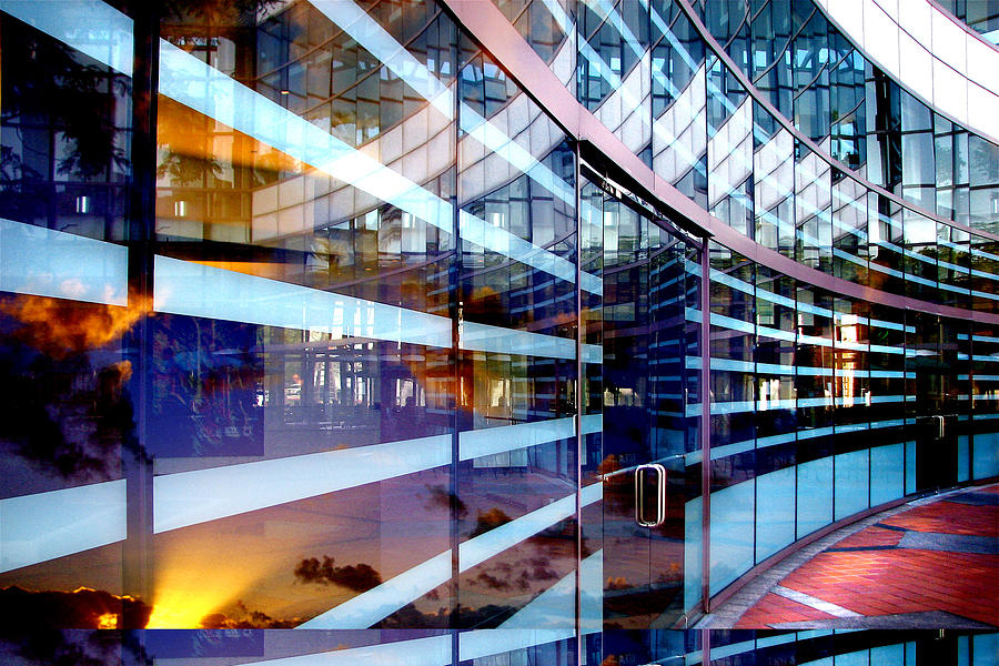 Office Building Photograph - Morning Reflections by Jan Cipolla