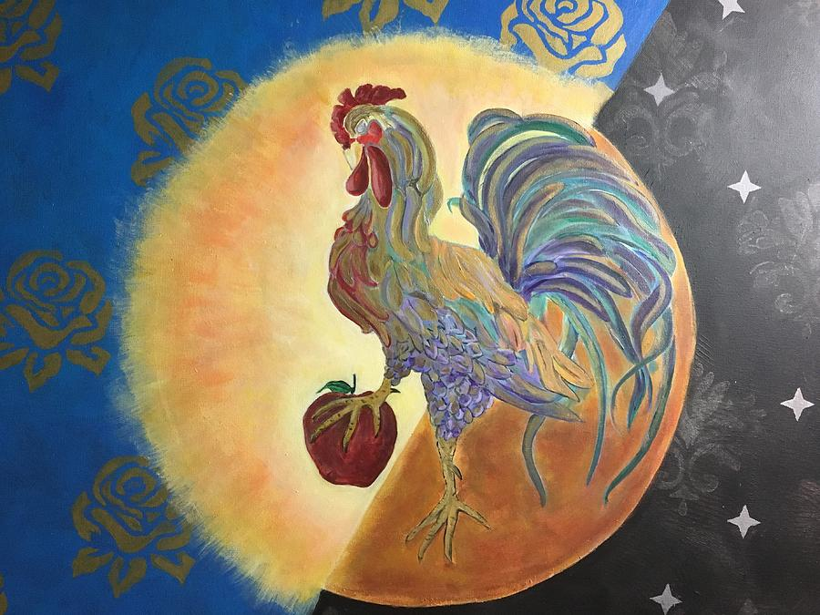 Rooster Painting - Morning Rise by Ron Tango Jr