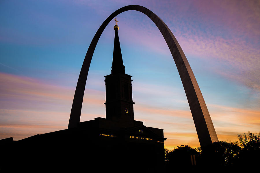 Morning Silhouettes - St. Louis Gateway Arch And The Old Cathedral At Sunrise Photograph