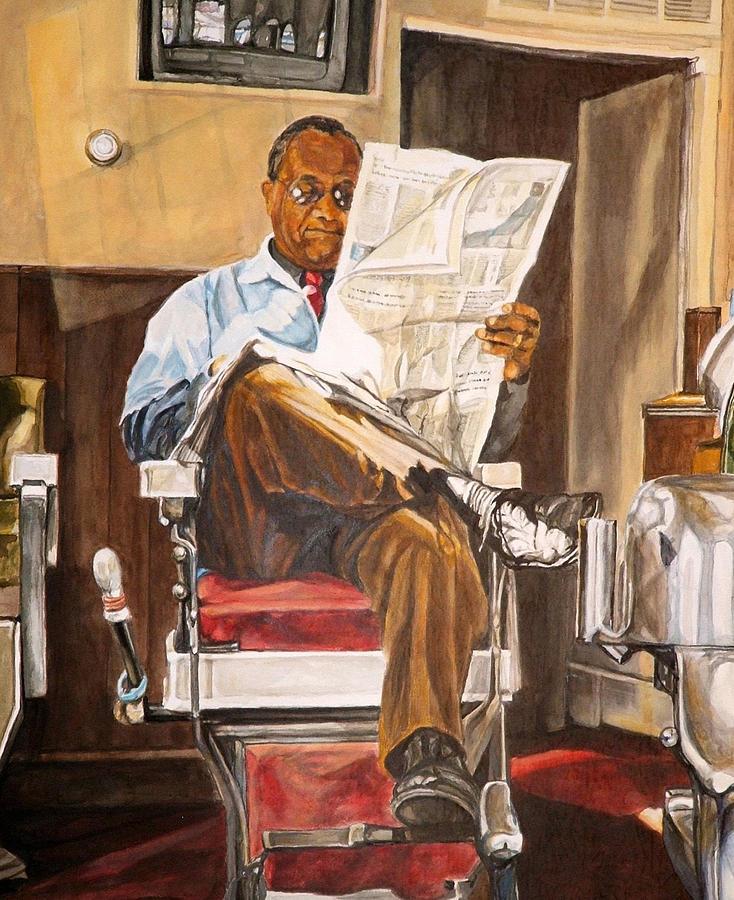 Barbershop Painting - Morning Slump by Thomas Akers