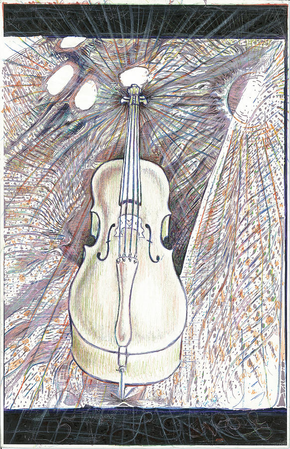 Cello Drawing - Morning Song by Jeremy Robinson