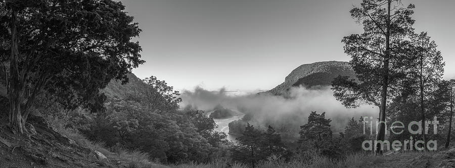 Morning Steam Over The Delaware Water Gap Bw Photograph
