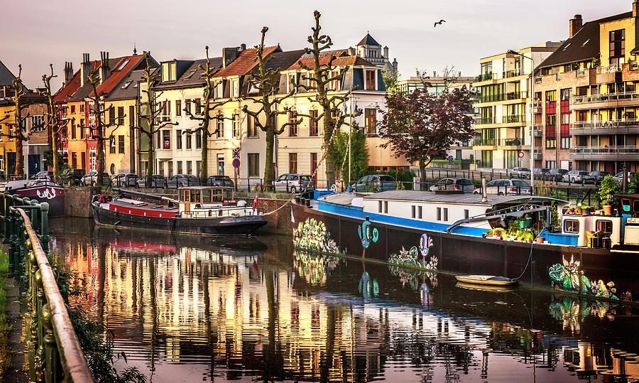 Ghent Belgium Photograph - Morning Stillness, Ghent by Anne Witmer