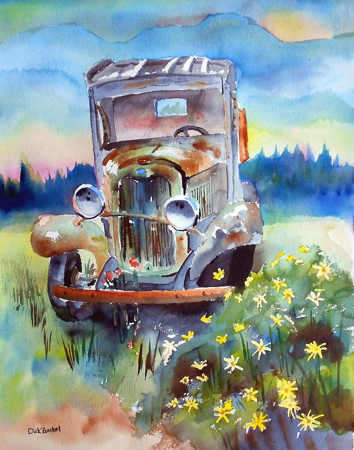 Barn Find Painting - Morning Stretch by Richard Zunkel