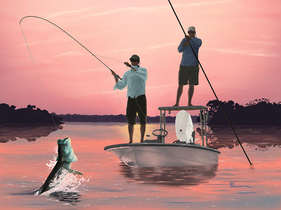 Tarpon Digital Art - Morning Strike by Kevin Putman