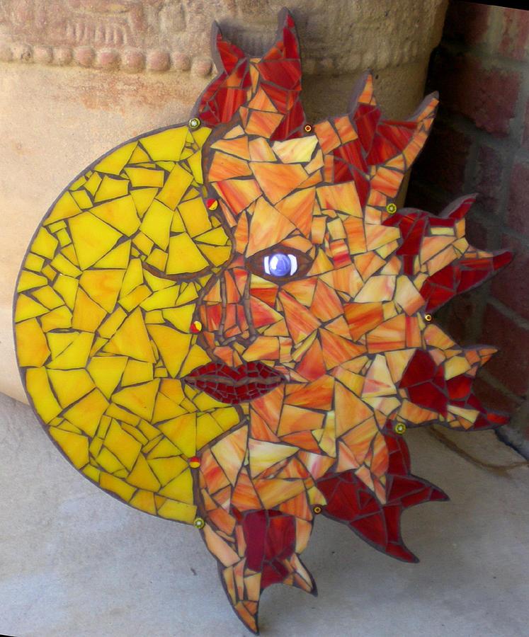 Morning Sun Good Night Moon Mosaic Wall Art Glass Art by Kathleen ...